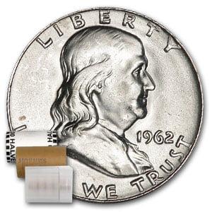 1962-D Franklin Half Dollar 20-Coin Roll BU