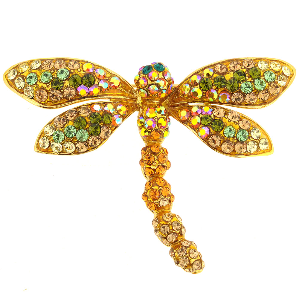 Golden Dragonfly Crystal Pin Brooch by