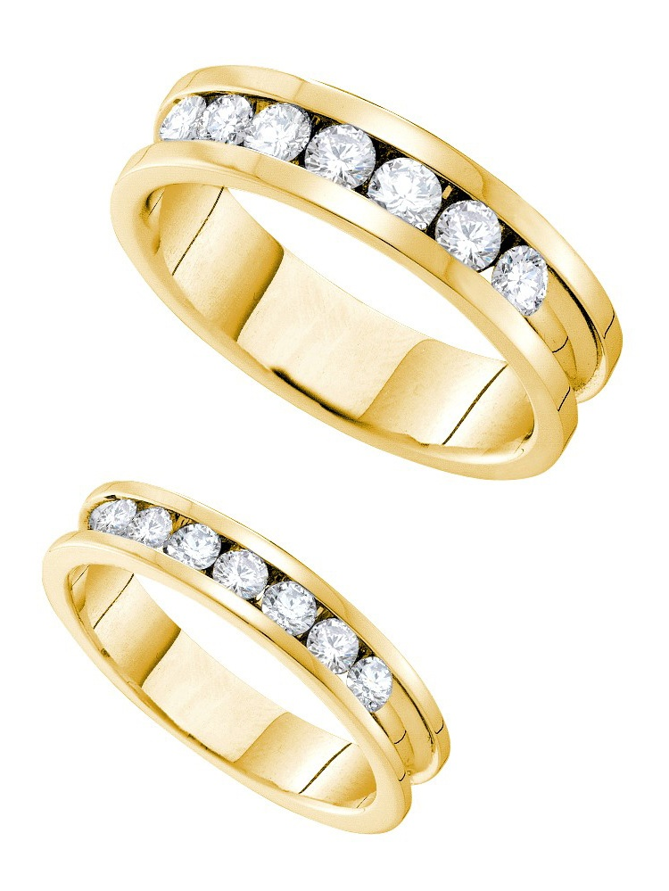 14kt Yellow Gold His & Hers Round Diamond Matching Bridal Wedding Ring Band ( Set 1.50 cttw.) by Mia Diamonds