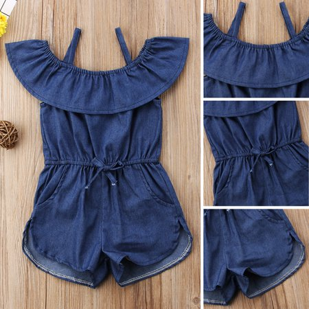 Casual Toddler Kids Girls Denim Blue Strap Romper Jumpsuit Playsuit Clothes](Blue Jumpsuit)