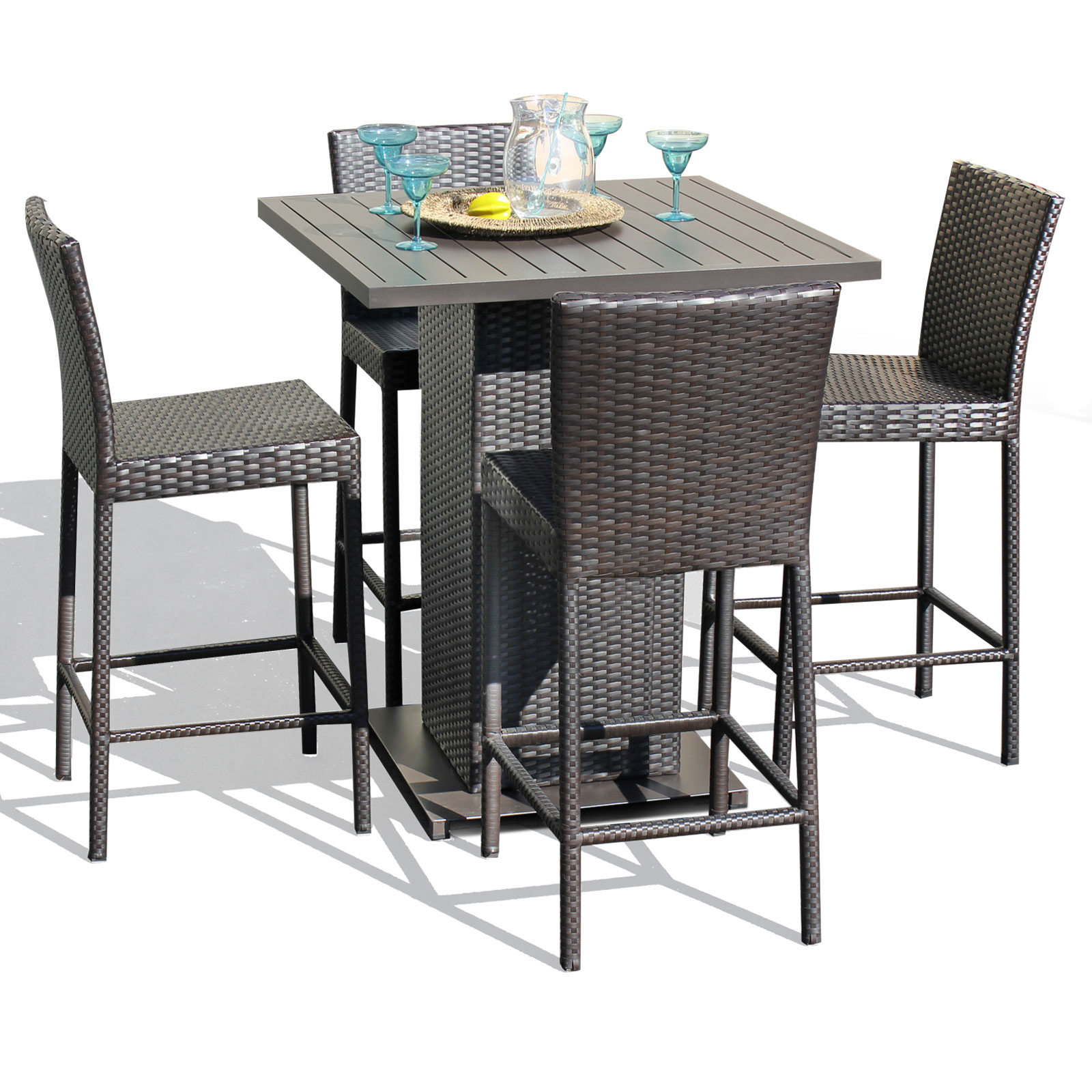 Venus Pub Table Set With Bar Stools 5 Piece Outdoor Wicker Patio Furniture by TK Classics