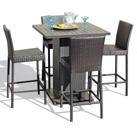Venus Pub Table Set With Barstools 5 Piece Outdoor Wicker Patio