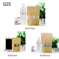 50pcs Kraft Paper Food Gift Bags with Window Self Sealing Envelope Shopping Bag