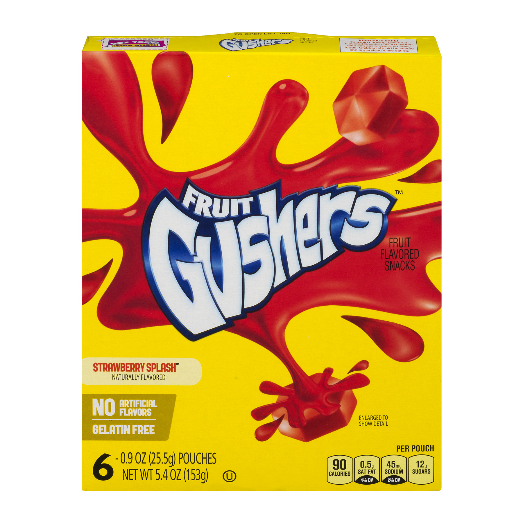 (3 Pack) Betty Crocker Fruit Gushers Strawberry Splash, 6 ct, 5.4 oz