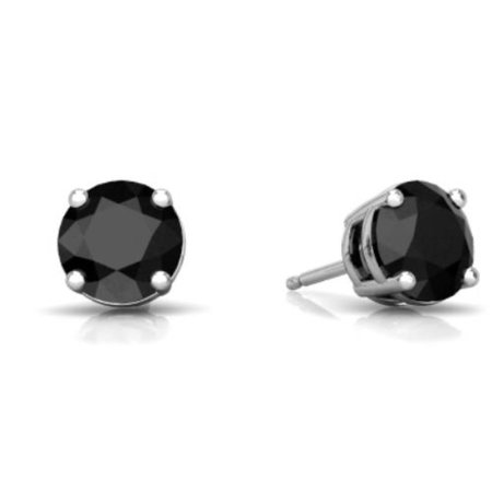 14Kt White Gold 1 Carat Natural Black Diamond Round Stud Earrings