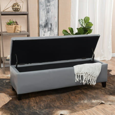 Noble House Gentry Dark Grey Bonded Leather Storage