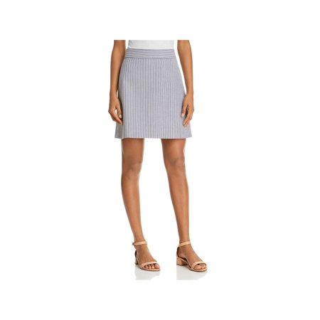 Theory Womens Wool Striped Mini Skirt
