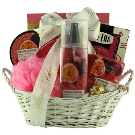 - Pomegranate & Passionfruit Spa Retreat: Bath & Body Thank You Gift Basket