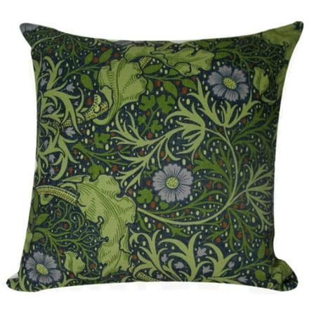 "William Morris Antique Blue Flower Design Decorative Accent Throw Pillow with Insert 18"""