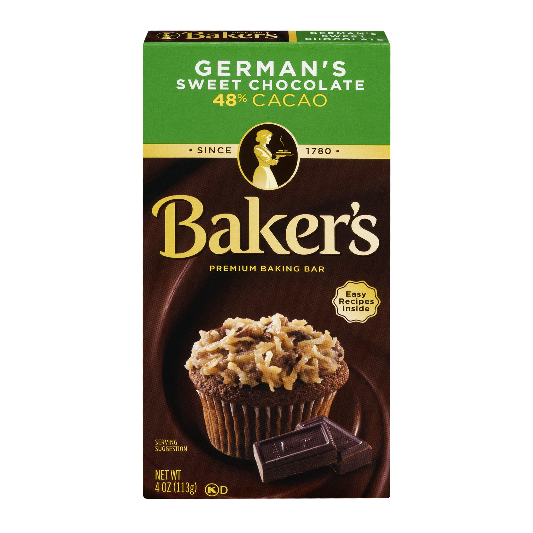 Baker's Baking Chocolate Bar 48% Cacao German's Sweet, 4 Oz