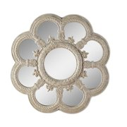 Distressed White Fleur de Lis Floral Wall Mirror