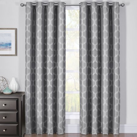 100% Blackout Curtain Panels Alana Woven Jacquard Triple Pass Thermal Insulated (Set of 2 Panels)- 84x96 - Gray