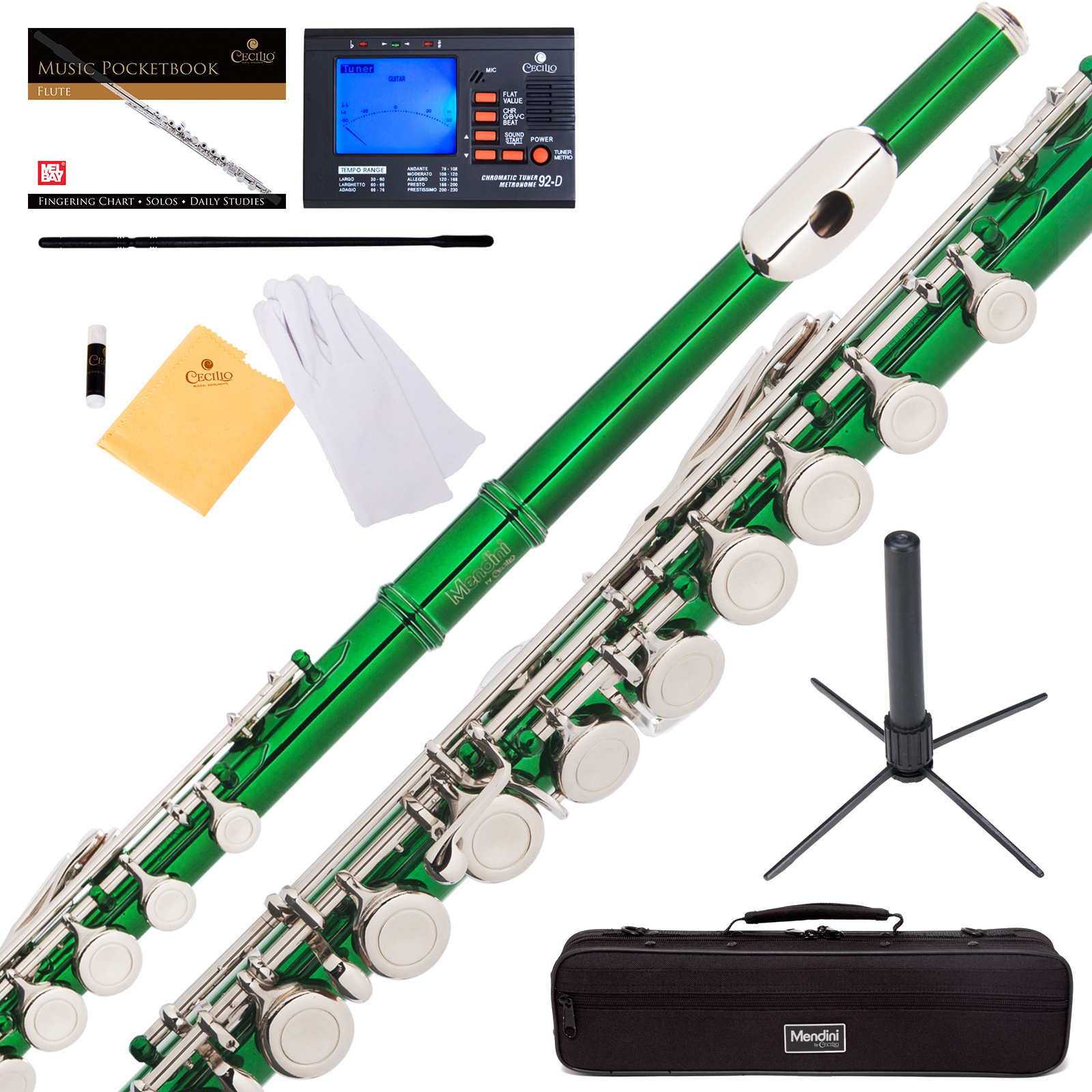 Mendini by Cecilio MFE-GN Green Lacquer C Flute with Stand, Tuner, 1 Year Warranty, Case, Cleaning Rod, Cloth, Joint Grease, and Gloves