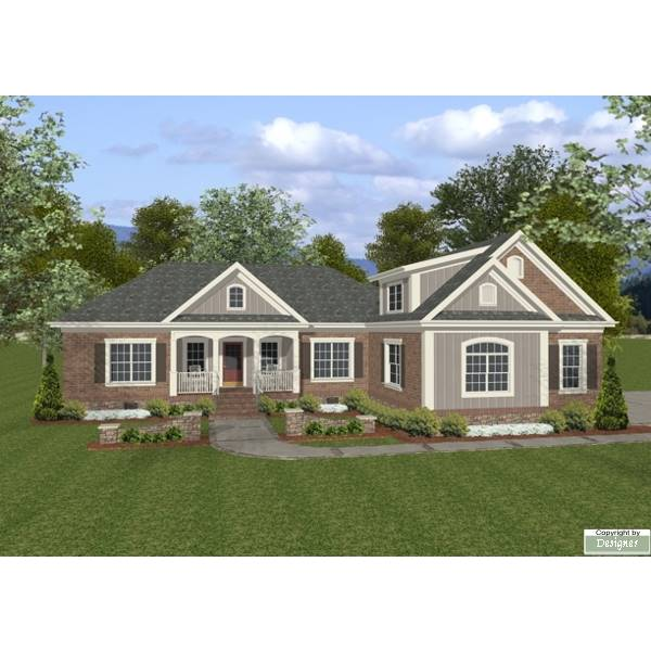 TheHouseDesigners-7676 Southern House Plan with Slab Foundation (5 Printed Sets)