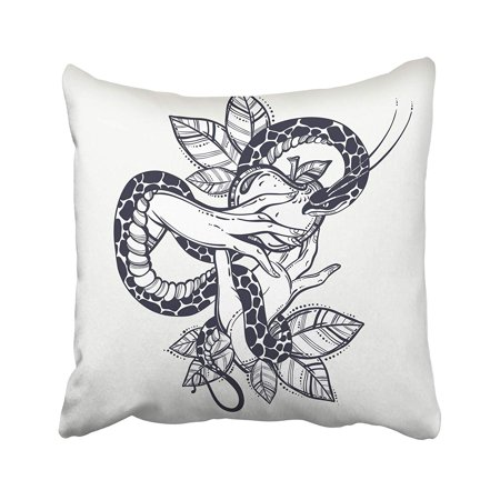 ARHOME Eve's Hands with Forbidden Fruit and Snake Tattoo of Biblical Story Eve Vintage Pillow Case Pillow Cover 20x20 inch Throw Pillow Covers