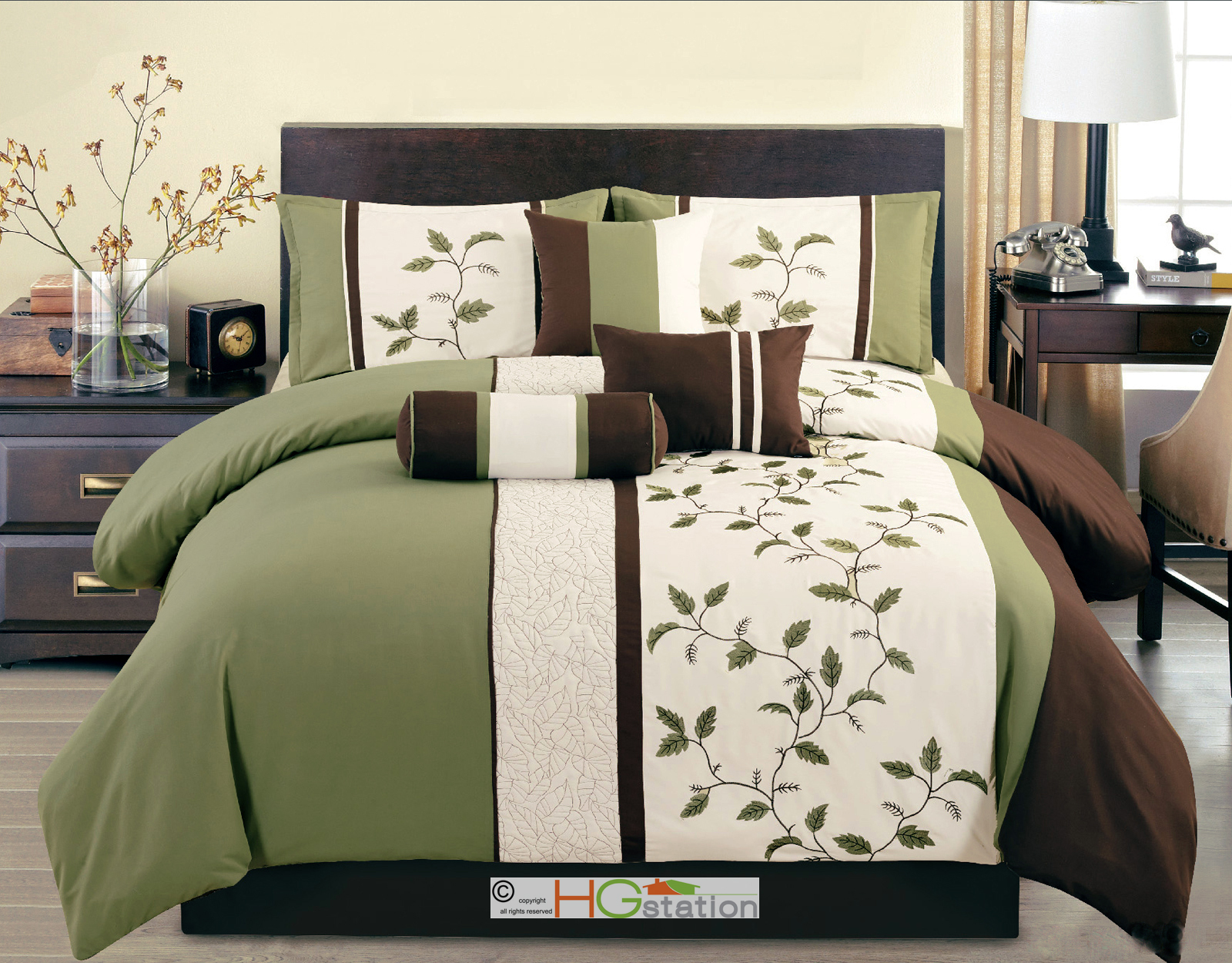 11 Pc Quilted Embroidered Leaves Striped Comforter Curtain