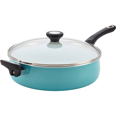 Farberware PURECOOK Ceramic Nonstick Cookware 5Qt Covered Jumbo Cooker with Helper Handle - Aqua