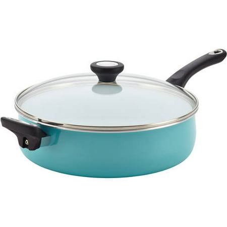 Farberware PURECOOK Ceramic Nonstick Cookware 5Qt Covered Jumbo Cooker with Helper Handle - Aqua