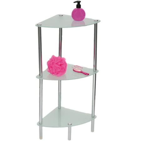 3 Tier Bath Glass Corner Shelf Tower Chrome Free Standing