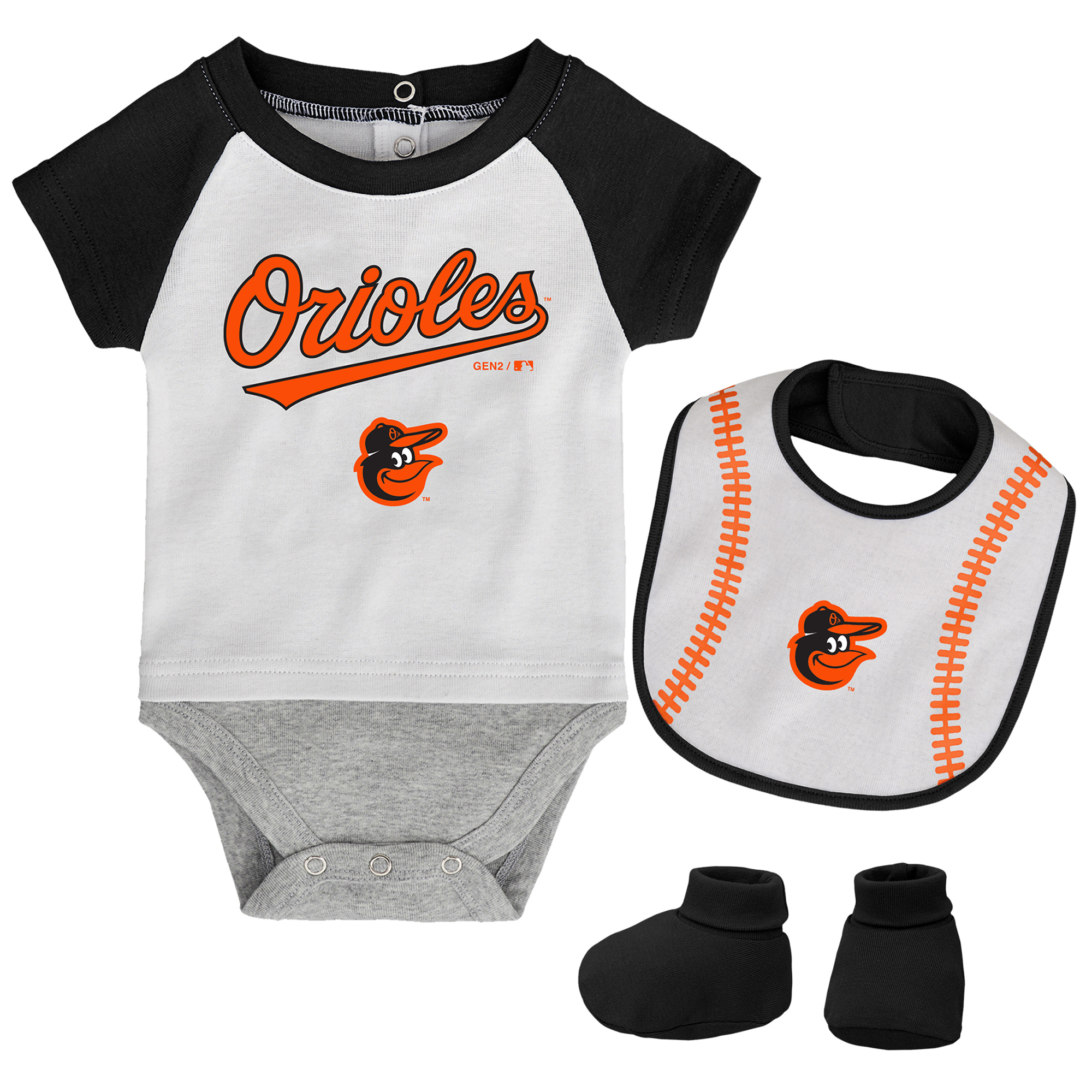 Baltimore Orioles Infant Baseball Kid Bodysuit, Bib & Booties Set - White/Black