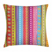 Striped Throw Pillow Cushion Cover, Colorful Retro Stripes Circles Boho Pattern 90's Style Ethnic Rainbow Art Print, Decorative Square Accent Pillow Case, 16 X 16 Inches, Multicolor, by Ambesonne