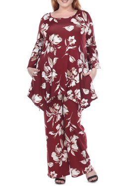 White Mark Women's Plus Size Floral Bell Sleeve Tunic and Palazzo Pant Set