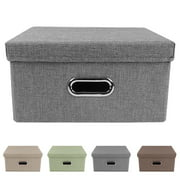 Collapsible Storage Bins Linen Fabric Cubes Boxes Clothes Storage Bag Containers Organizer