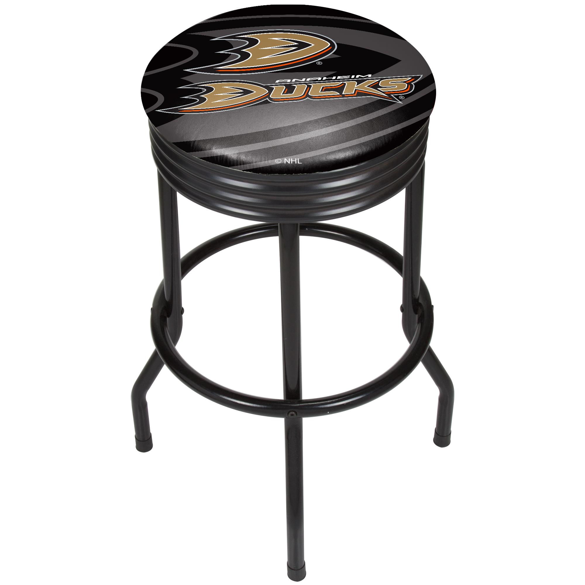NHL Black Ribbed Bar Stool - Anaheim Ducks