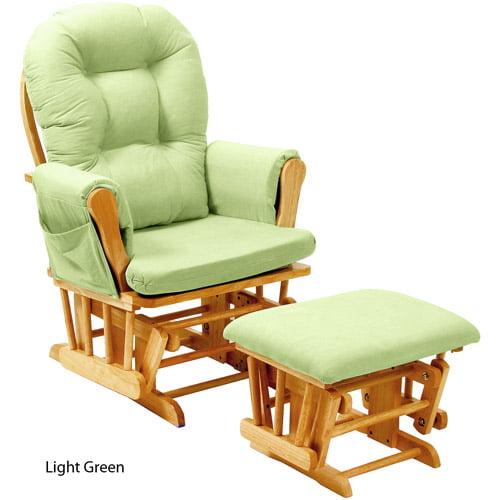 Stork Craft Custom Hoop Glider & Ottoman-Color:Green Chenille Cushions,Finish:Oak Finish