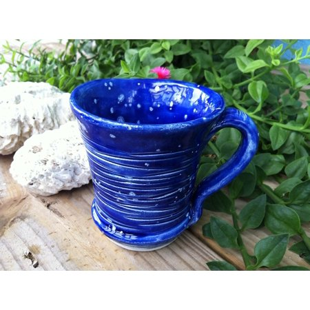 Canvas Print Coral Blue Pottery Tea Mug Coffee Carved Stretched Canvas 10 x 14