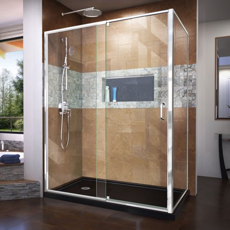 DreamLine Flex 36 in. D x 60 in. W x 74 3/4 in. H Semi-Frameless Pivot Shower Enclosure in Chrome with Left Drain Black Base Kit Drain Shower Enclosure