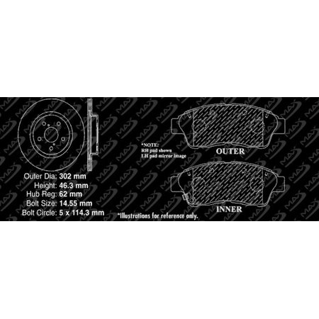 Max Brakes Front Premium Brake Kit [ OE Series Rotors + Metallic Pads ] TA124641 | Fits: 2001 2002 2003 Toyota Rav4 EV - image 3 de 8