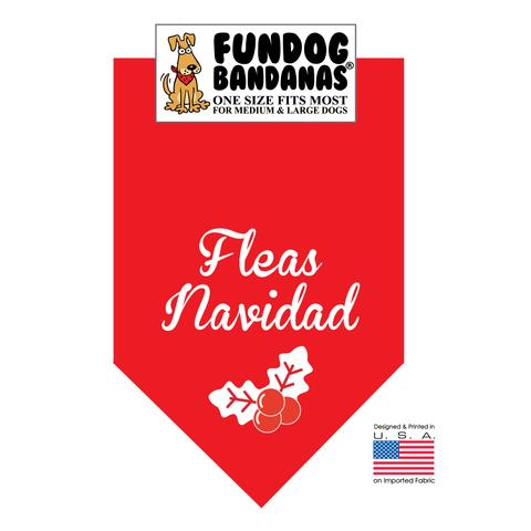 Fun Dog Bandana - Fleas Navidad - One Size Fits Most for Med to Lg Dogs, red pet scarf