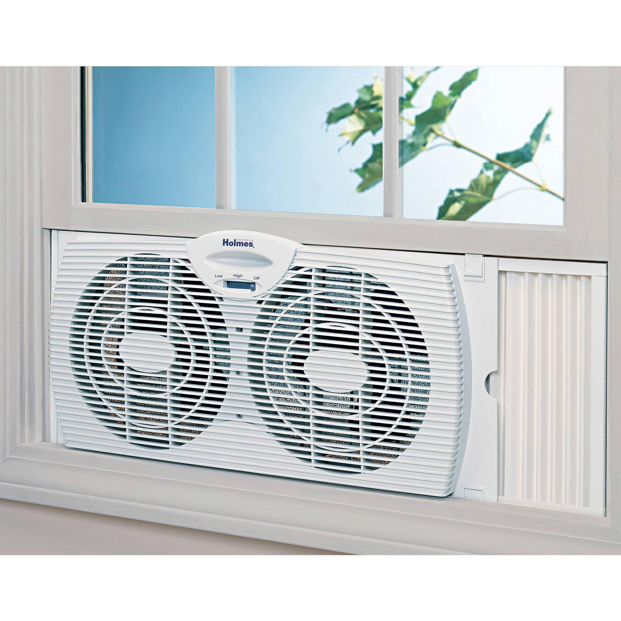 Dual Blade Twin Window Fan Holmes white 6 inch adjustable ...