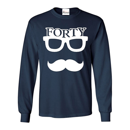 Forty Eyeglasses With Mustache Long Sleeve Shirt Birthday Shirts