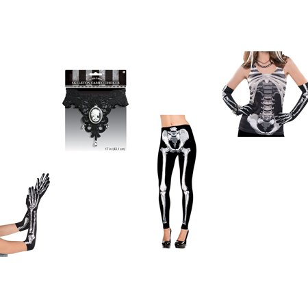 Amscan Skeleton Halloween Costume Bundle Tank Top, Leggings, Long Skeleton Gloves and Cameo Choker](Skeleton Leggings And Top)
