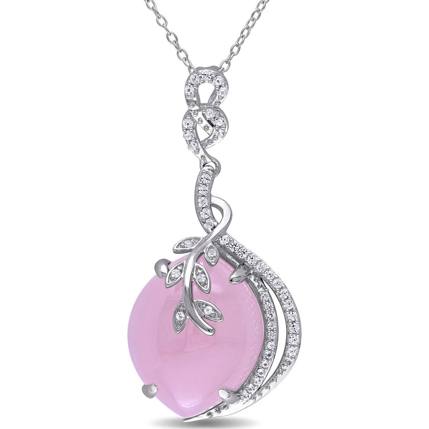 "Tangelo 18 Carat T.G.W. Pink Chalcedony and Created White Sapphire Sterling Silver Vine Drop Pendant, 18"" by Tangelo"
