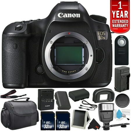 Canon EOS 5DS Digital SLR Camera (Body Only) - Bundle with 32GB Memory Card + Spare Battery + Digital Slave Flash + More (Intl Model)