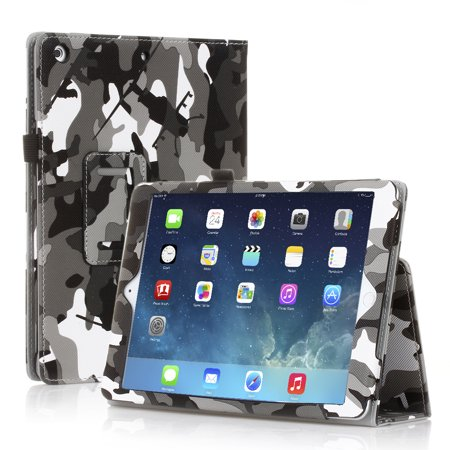 iPad 2/3/4 Case (Camouflage Black) - Slim Fit Synthetic Leather Folio Case Stand with Smart Cover Auto Sleep & Wake Feature and Stylus Holder for Apple iPad 4th Gen, the New iPad 3 and iPad 2