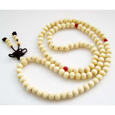 Tibetan Buddhist 108 8mm White Wood Prayer Beads Mala (Best Cord For Mala Beads)
