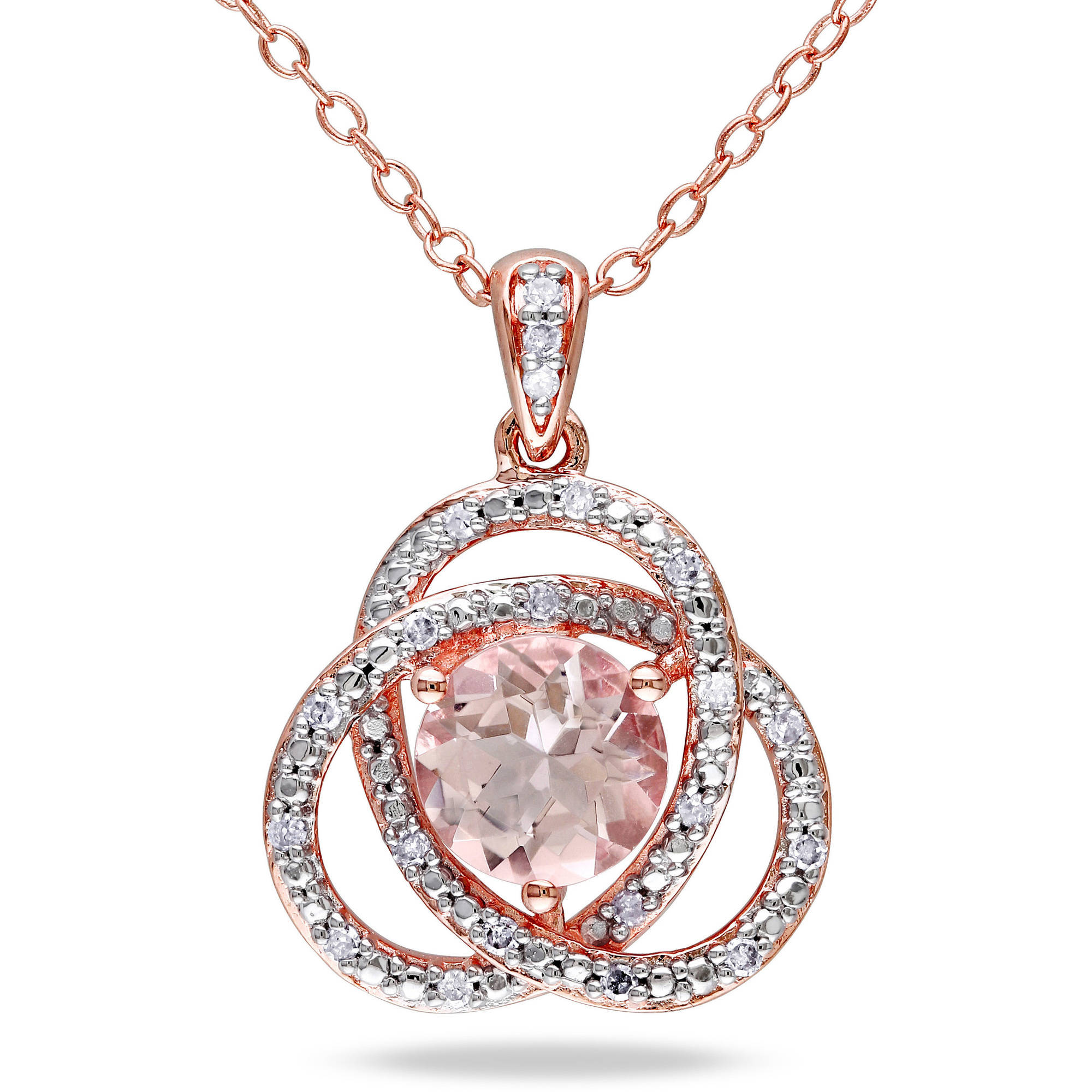 "1-1 6 Carat T.G.W. Morganite and Diamond Accent Pink Rhodium-Plated Sterling Silver Fashion Pendant, 18"" by Generic"