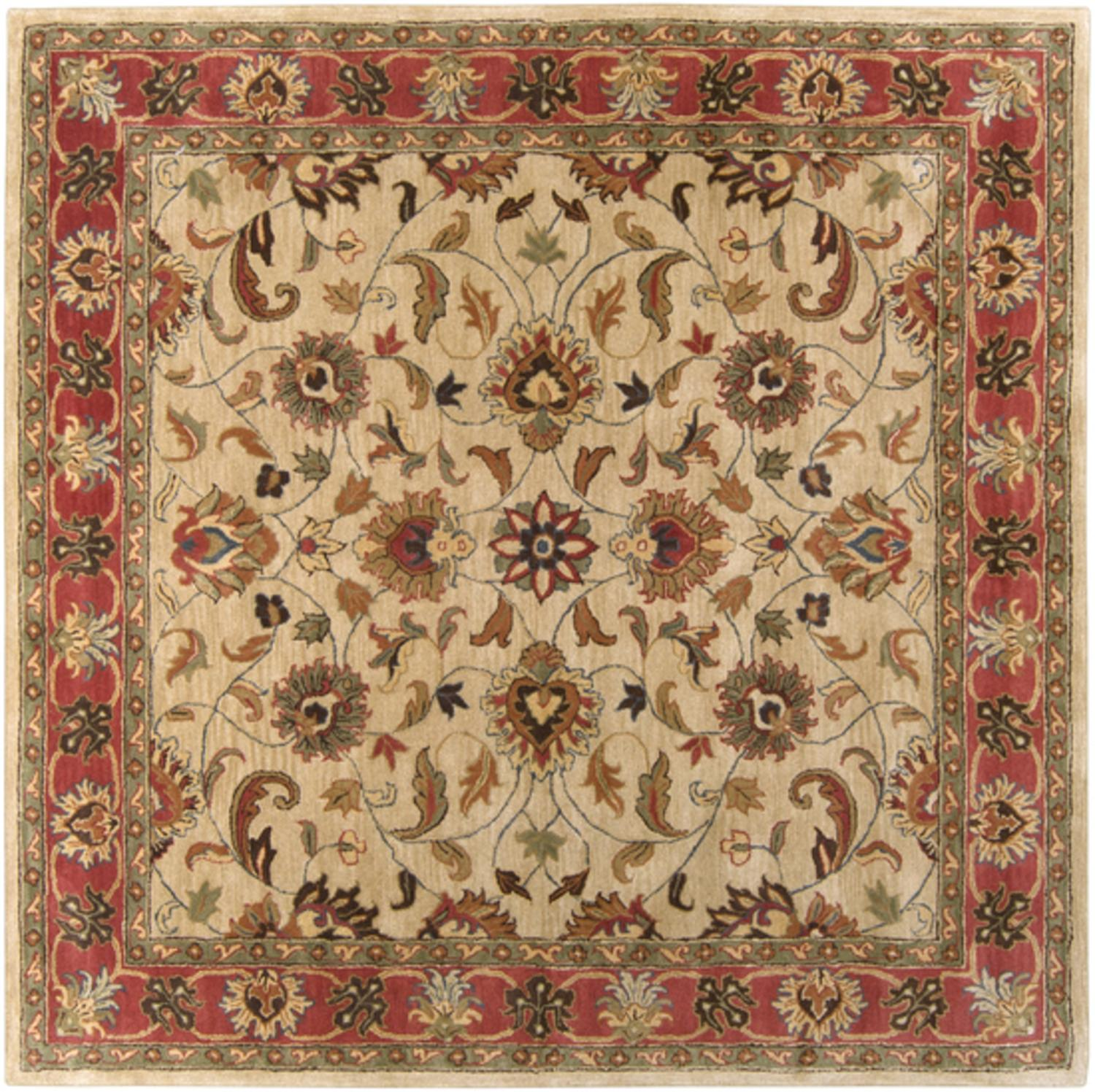 4' x 4' Augustus Russet and Burnt Sienna Hand Tufted Square Wool Area Throw Rug