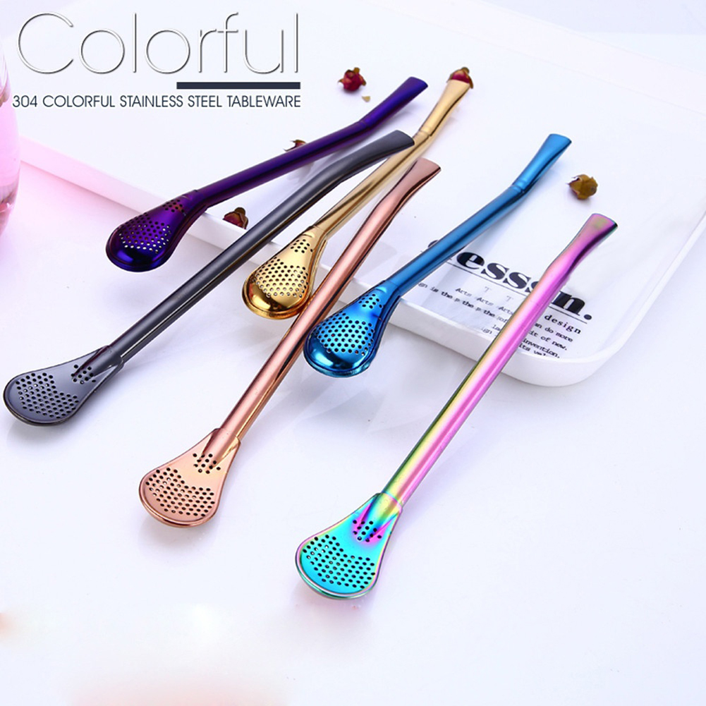 Girl12Queen Reusable Stainless Steel Tea Drinking Straws Stirring Rod Spoon Filter Bombilla
