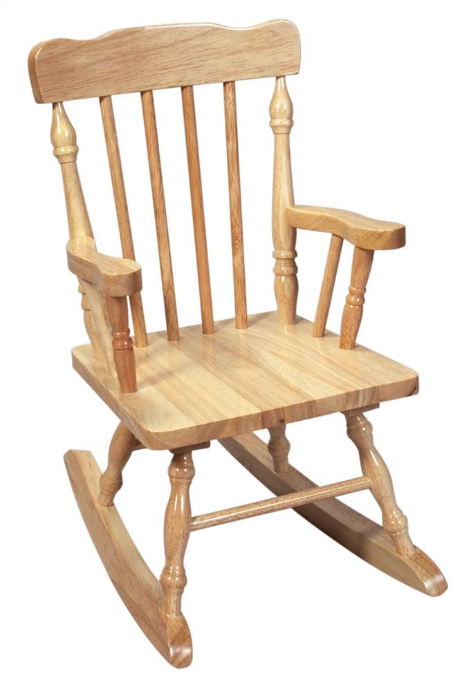 Kids Solid Wood Colonial Style Rocking Chair W Natural Finish