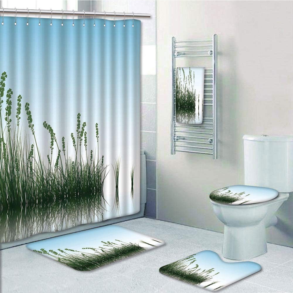 Erehome Landscape Scenery Of A Lake Bushes Grass With Reflection Floral Jade 5 Piece Bathroom Set Shower Curtain Bath Towel Bath Rug Contour Mat And Toilet Lid Cover Walmart Canada