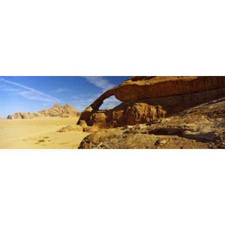 Natural arch Eye of the Eagle Arch Wadi Rum Jordan Stretched Canvas - Panoramic Images (36 x -