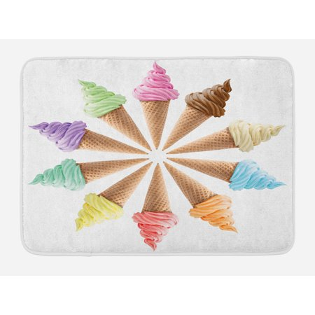 Pictures Ice Cream Cones - Ice Cream Bath Mat, Cones with Various Flavors Forming a Stylish Row Summer Season Picture Print, Non-Slip Plush Mat Bathroom Kitchen Laundry Room Decor, 29.5 X 17.5 Inches, Multicolor, Ambesonne