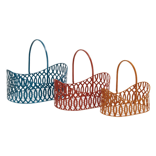 Woodland Imports 3 Piece Simply Lovely Metal Basket Set