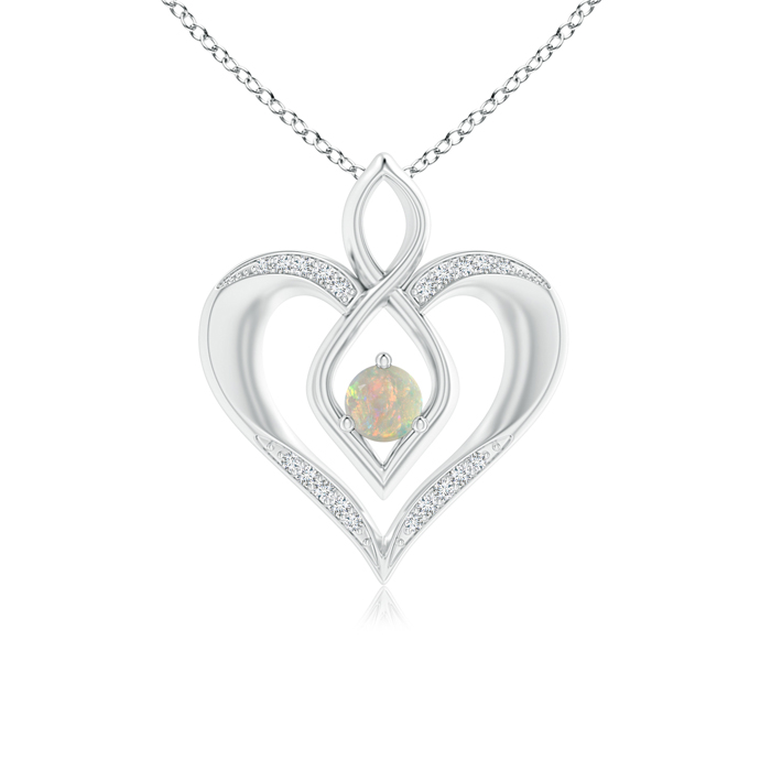 Mother's Day Jewelry Necklace Solitaire Round Opal Infinity Heart Pendant with Diamond Accents in 950 Platinum (4mm... by Angara.com
