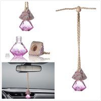 Car Mirror Hanging Decoration, MINI-FACTORY Bling Pink Crystal Diamond Bottole for Car Mirror